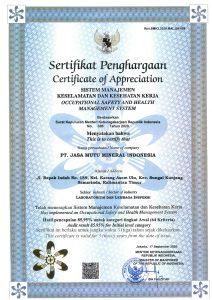 SERTIFIKAT SMK3 PT JASA MUTU MINERAL INDONESIA